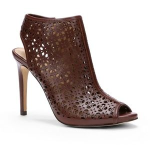Laser cut leather cutout heeled bootie 7
